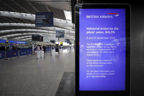 British Airways vuelos cancelados Reino Unido huelga de pilotos