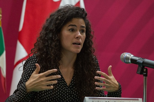 Luisa María Alcalde, secretaria del Trabajo y Previsión Social (STPS) durante conferencia en la STPS. FOTO: ANDREA MURCIA /CUARTOSCURO.COM