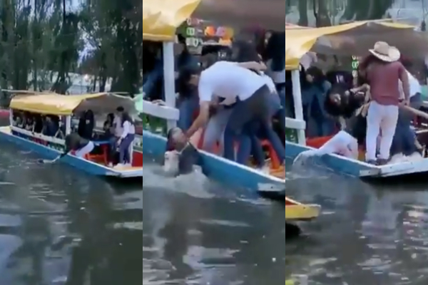 Trajinera_mujer_cae_xochimilco_video