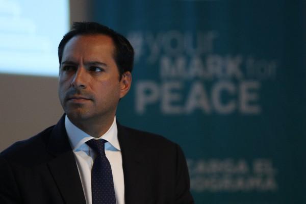 Mauricio Vila Dosal, gobernador de Yucatán dio detalles de las actividades que se desarrollarán en la entidad con motivo de la Cumbre Internacional de los premios Nobel de la paz 2019, que se celebrarán a partir del 19 de septiembre del presente año. FOTO: GALO CAÑAS /CUARTOSCURO.COM