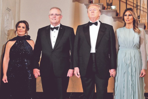 CENA. Trump recibió ayer al primer ministro australiano Scott Morrison. Foto: Reuters