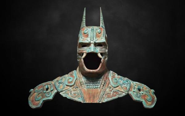 Busto de Batman inspiraod en el dios Camazotz que Christian Pacheco realizó para la convocatoria de Warner Bros Entertainment. FOTOS: kimbal.ccom.mx