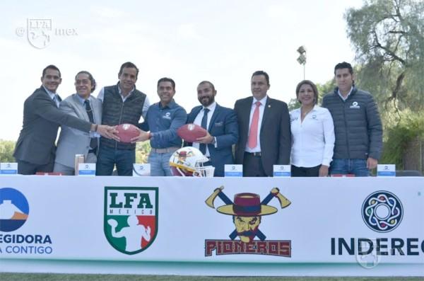 Presentación del equipo Pioneros de Querétaro en la LFA. FOTO: ESPECIAL