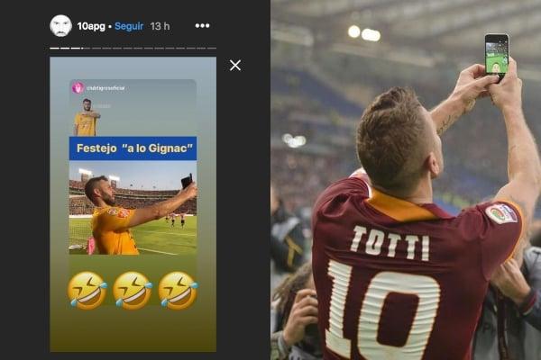 Festejo de Gignac hecho ayer junto al de Totti realizado en 2015. Foto: Especial