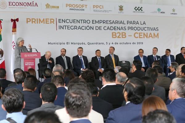 FOTO: TWITTER  @SE_mx Se llevó a cabo el Primer Encuentro Empresarial para la Integración de Cadenas Productivas B2B-CENAM, en donde la Secretaría de Economía anunció la nueva política industrial.