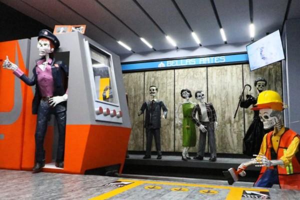 El metro es una de las temáticas que tiene la ofrenda ubicada en el Museo Dolores Olmedo. Twitter: Claudia Sheinbaum