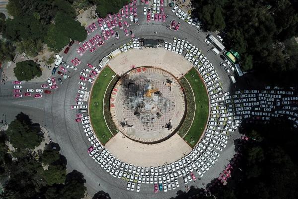 Protestas de taxistas en la CDMX. Foto: Víctor Gahbler