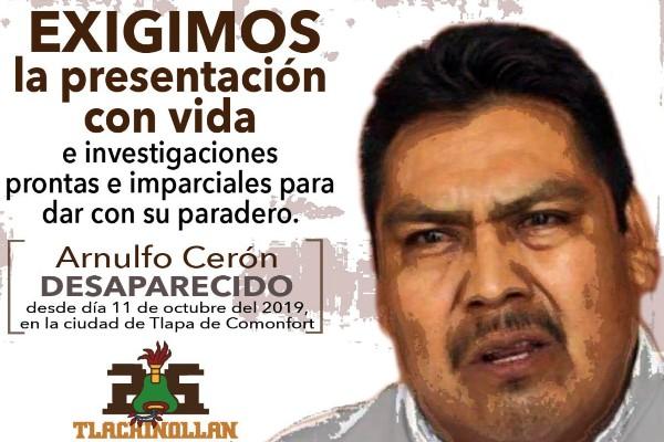 Arnulfo Cerón era promotor y defensor de los derechos humanos. Fue privado de su libertad el 11 de octubre FOTO: TWITTER  @Tlachinollan