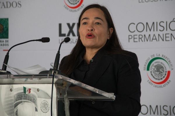 Veronica Juárez Piña, diputada del PRD durante conferencia en el Senado de la República. FOTO: ANDREA MURCIA /CUARTOSCURO.COM