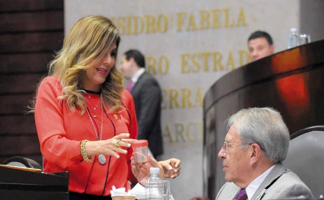 REGALO. Abril Alcalá, diputada del PRD, le entregó al secretario un mosco transmisor del dengue. Foto: Especial