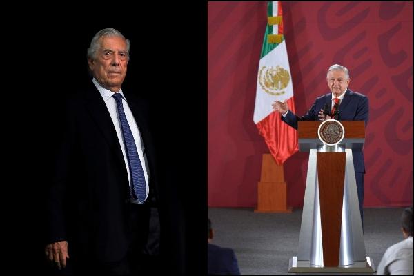 Vargas Llosa y López Obrador. Fotos: EFE-Presidencia