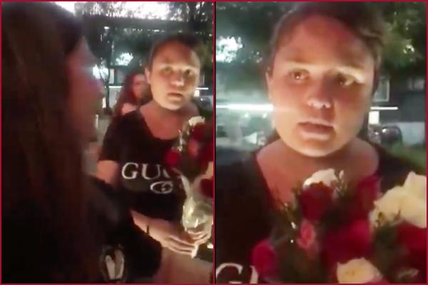 vendedora rosas confunde metalero