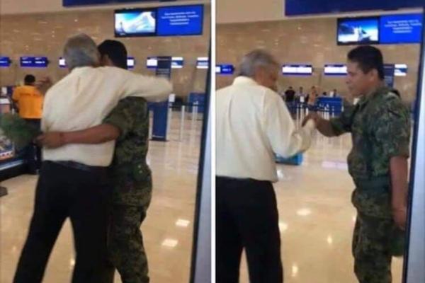 El mandatario y un militar en el aeropuerto. Foto: @1Edcalvil
