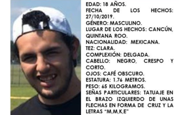 """El joven fue """"levantado"""" la madrugada del pasado domingo 27 de octubre. FOTO: @FGEQuintanaRoo"""