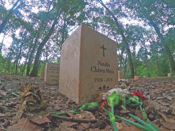 l BOSQUE. En el lugar, no se permite construir sobre las tumbas, o arreglos florales grandes; si los hay, se utilizan para composta. Foto: Moisés Rosas