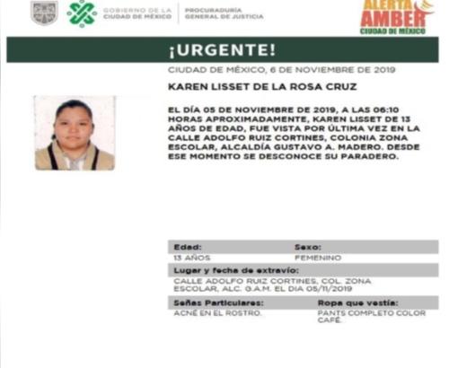 Karen Lisset de la Rosa Cruz desapareció el martes. FOTO: Especial