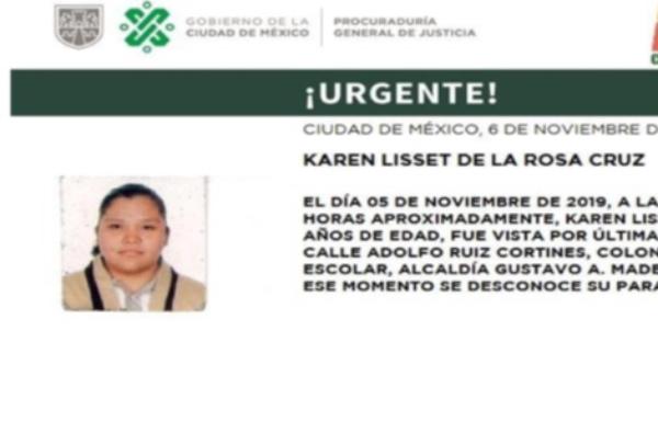 Karen Lisset de la Rosa Cruz fue vista por última vez en la alcaldía Gustavo A. Madero. FOTO: Especial