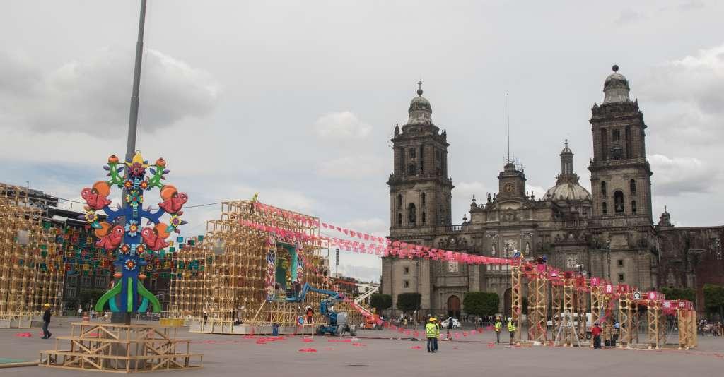 La Megaofrenda lista en el Zócalo capitalino. Foto: Cuartoscuro.