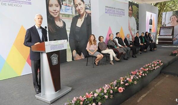 ESPACIO. El gobernador Alfredo Del Mazo destacó la participación de los tres niveles de gobierno en el programa. Foto: Especial