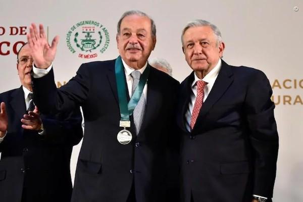 Andrés Manuel López Obrador, presidente de México y el empresario Carlos Slim Helú. Foto: Presidencia
