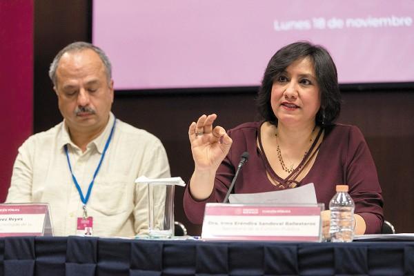 CUENTAS. Irma Eréndira Sandoval dio una conferencia de prensa. Foto: Notimex