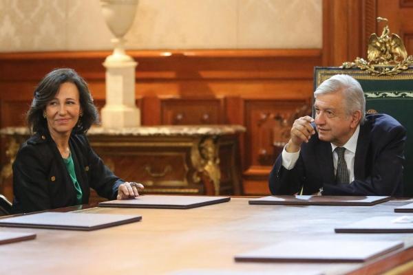 Ana Botín y López Obrador. Foto: Presidencia