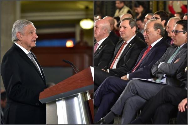 El presidente y la IP presentes en La Mañanera. Foto: Presidencia