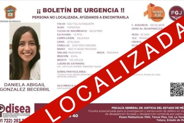 Daniela Abigail González Becerril, una joven de 19 años de edad. Foto: PGJ Edomex