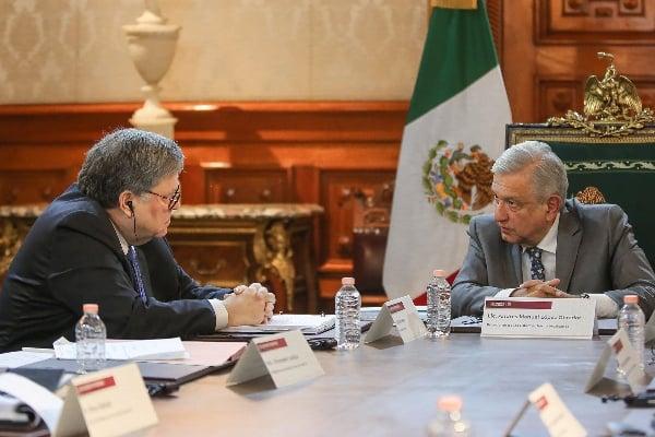 El Fiscal general de Estados Unidos, William Barr, se reunió con el Presidente Andrés Manuel López Obrador en Palacio Nacional. FOTO: NOTIMEX