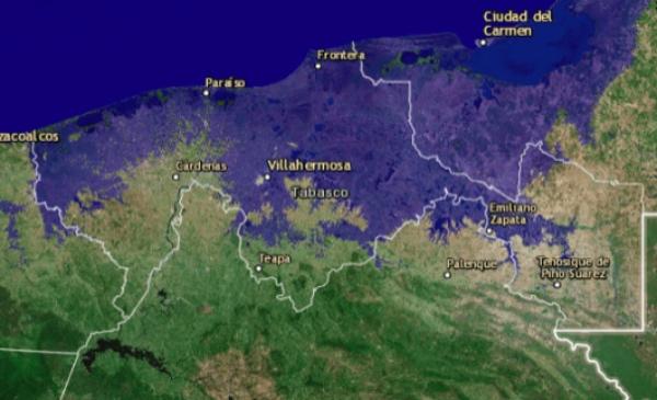 Tabasco quedaría prácticamente sumergido. FOTO: Flood Map