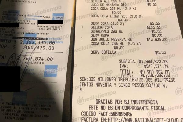 Ticket cuenta NBA restaurante CDMX  FOTO:ESPECIAL https://www.mediotiempo.com