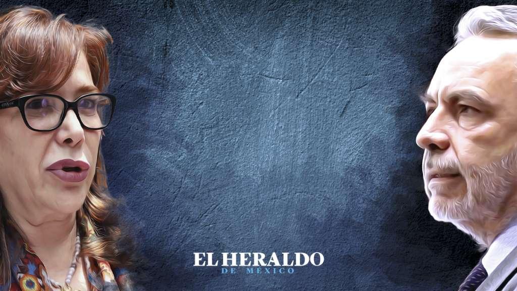 Yeidckol Polevnksy / Alfonso Ramírez Cuellar. Actual secretaria general y presidente provisional del Movimiento de Regeneración Nacional. Ilustración: Heraldo de México