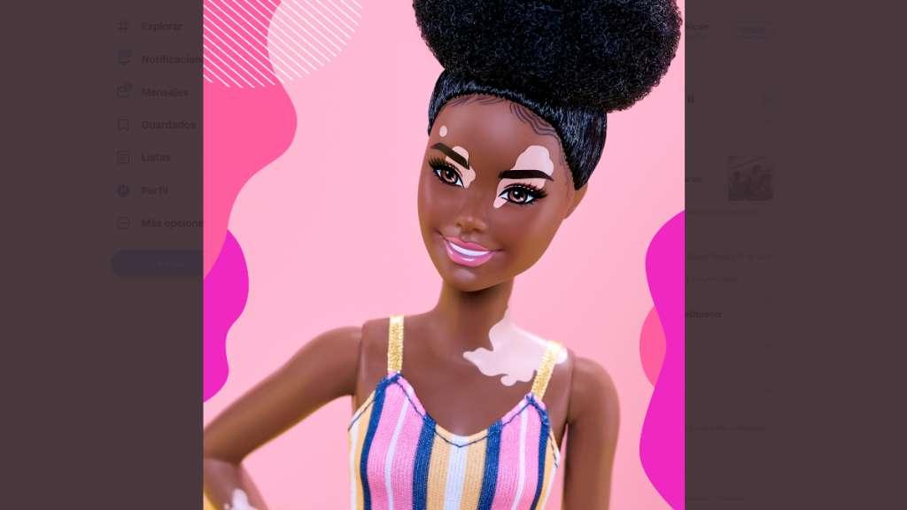 La Barbie con vitiligo es parte de una nueva colección de muñecas. Foto: Especial Twitter