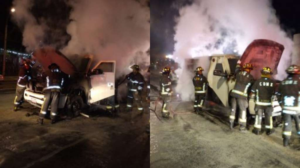 Se incendia camioneta de valores Iztacalco