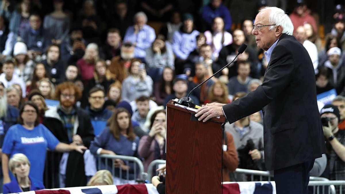 FAVORITO. El demócrata Sanders realizó una campaña en la Universidad Franklin Pierce FOTO: AFP