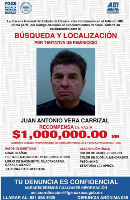 Ficha de localización del exdiputado priista Juan Vera Carrizal. FOTO: @FISCALIA_GobOax