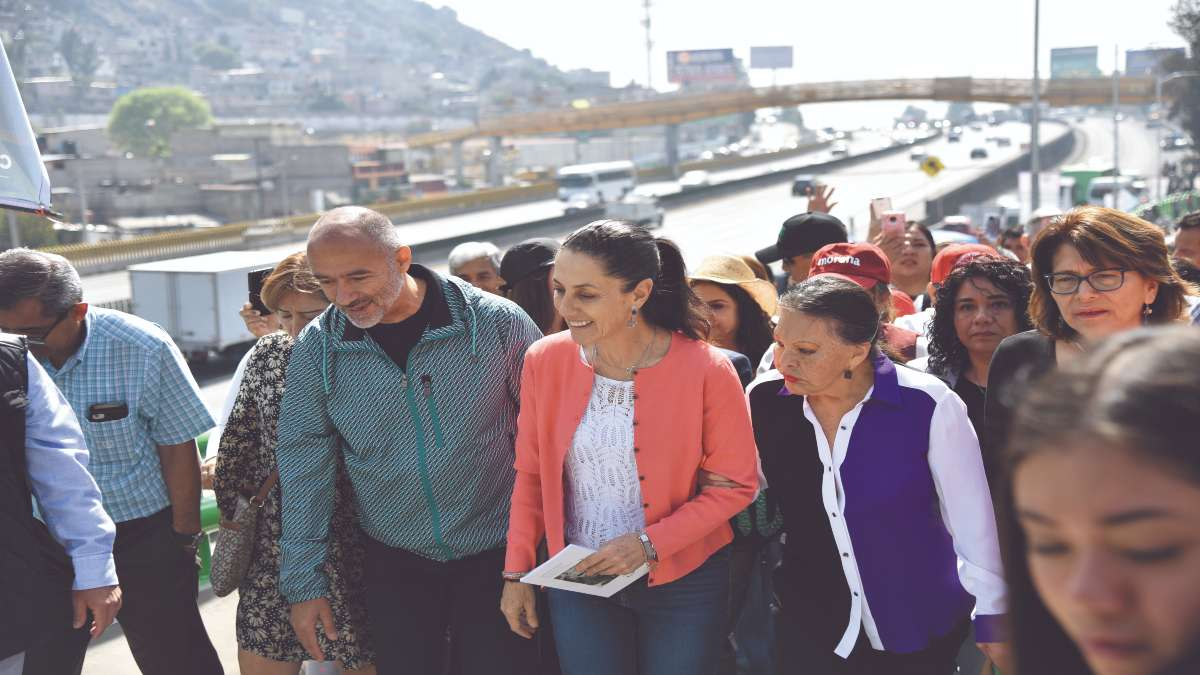 LOS REYES. Sheinbaum dijo que la obra beneficia a 50 mil personas. Foto: Daniel Ojeda