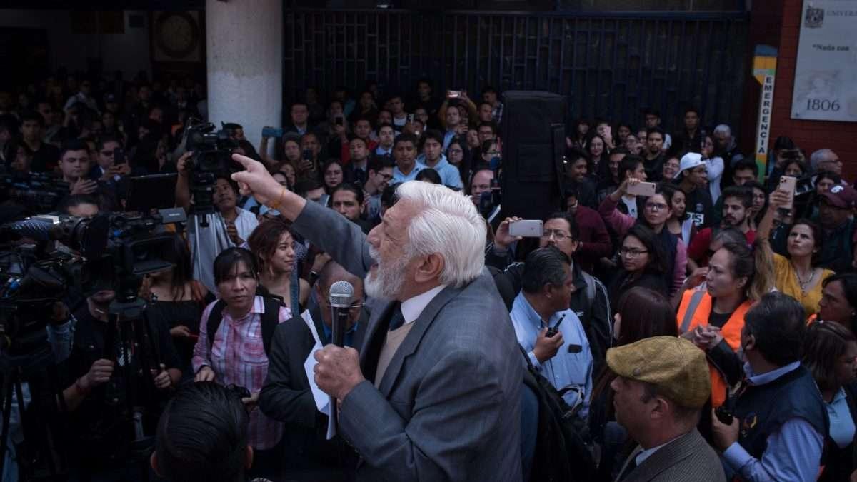 PROCLAMA. El presidente del Tribunal Universitario participó en un mitin en la Facultad de Derecho, en CU. Foto: CUARTOSCURO