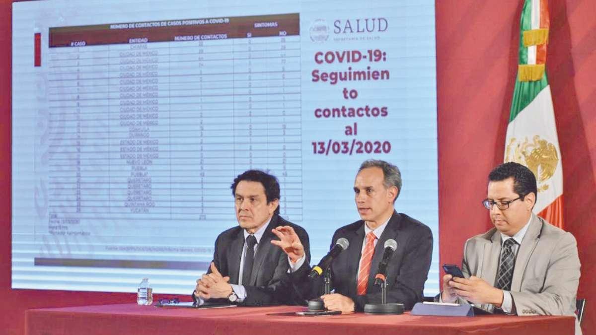 COVID-19. Hugo López-Gatell (centro) actualizó número de pacientes positivos a 26.  Foto: Especial