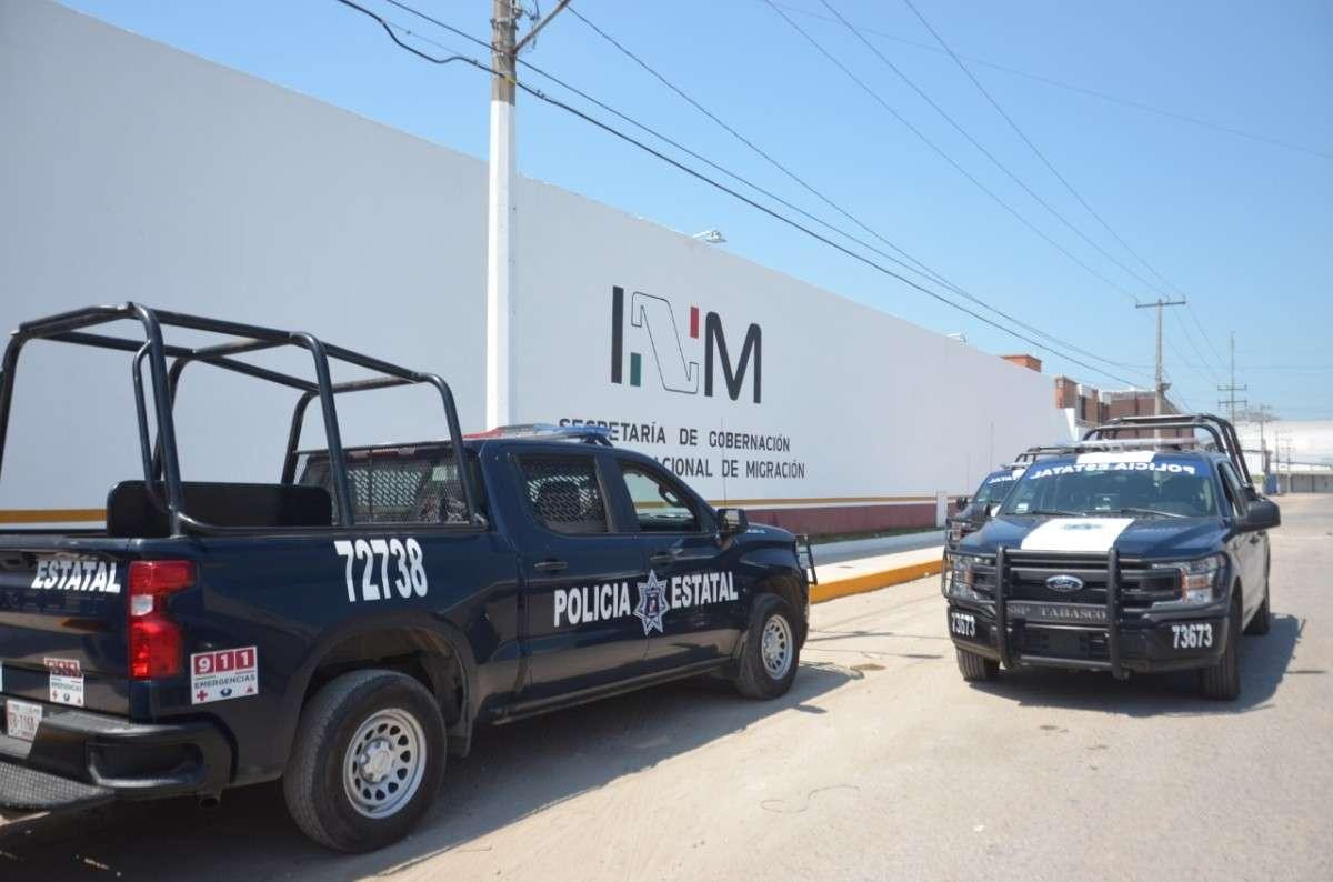 Agentes de la Policía Estatal y la Guardia Nacional, desplegaron un operativo en el albergue. Foto: Especial