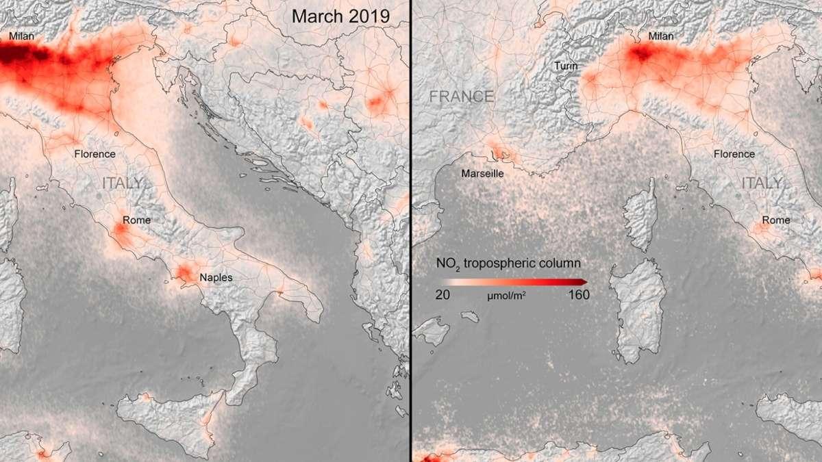 Imágenes satelitales muestran la reducción de contaminación por cuarentena: FOTOS