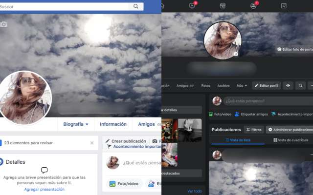 facebook modo oscuro