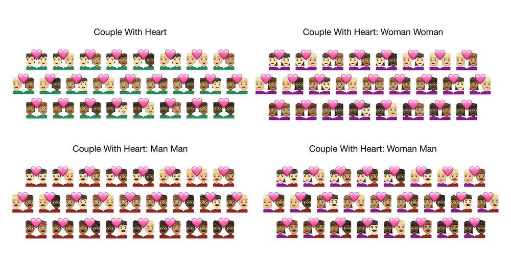 Nuevos emojis de parejas con corazones