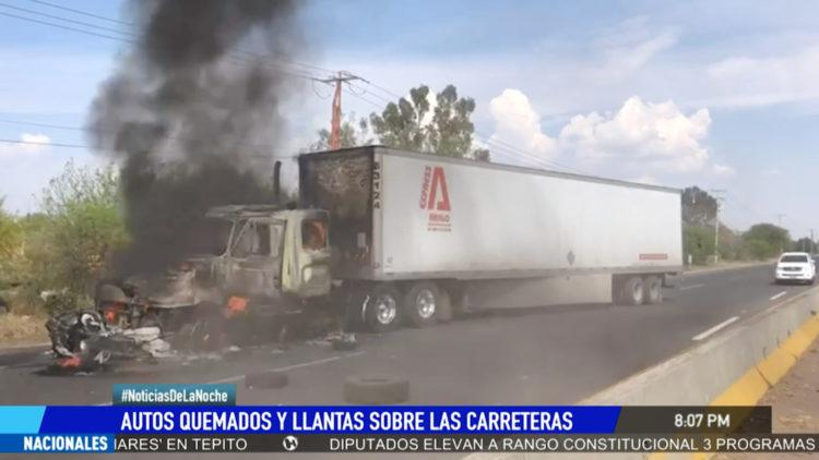 Guanajuato bloqueos incendios automoviles Celaya